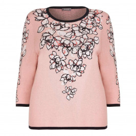 BASLER peach floral intarsia SWEATER - Plus Size Collection