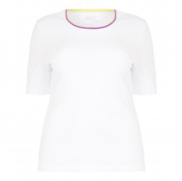 BASLER contrast neck ribbed cotton T-SHIRT - Plus Size Collection