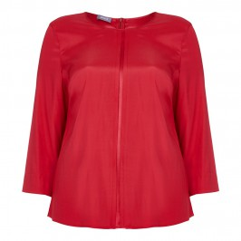 BASLER RED CREPE AND SATIN SILK STRETCH TOP - Plus Size Collection