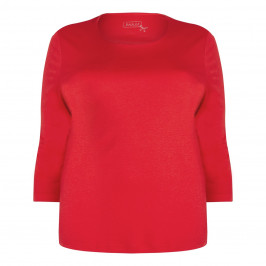 BASLER red scoop neck jersey TOP - Plus Size Collection
