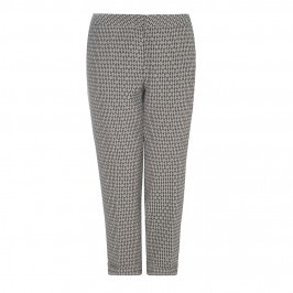 BASLER BLACK &TAUPE JACQUARD ANKLE GRAZER TROUSERS - Plus Size Collection