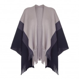 BASLER wide stripe fringed SHAWL wrap - Plus Size Collection