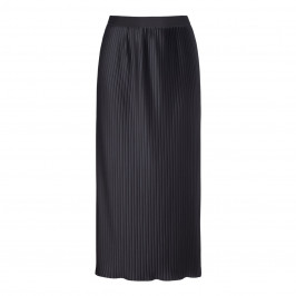 BEIGE LABEL BLACK LONG PLEATED SATIN EFFECT SKIRT - Plus Size Collection