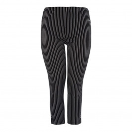BEIGE LABEL PINSTRIPE TECHNOSTRETCH ANKLE GRAZER TROUSER BLACK - Plus Size Collection