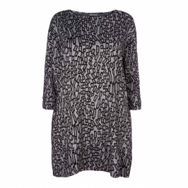BEIGE LABEL ABSTRACT PRINT TUNIC - Plus Size Collection