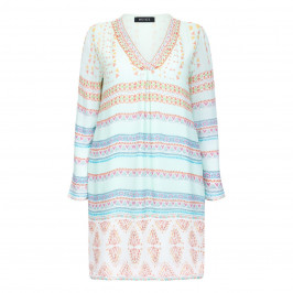 BEIGE LABEL PRINT PINK TUNIC  - Plus Size Collection