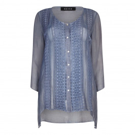 BEIGE LABEL BLOUSE WITH EMBROIDERED CHIFFON - Plus Size Collection