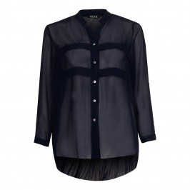 BEIGE sheer crinkle back BLOUSE in navy - Plus Size Collection