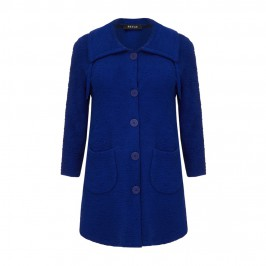 BEIGE TEXTURED KNITTED JACKET - ROYAL BLUE - Plus Size Collection
