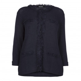 Beige Label Navy Chanel style fringed cardigan  - Plus Size Collection