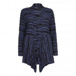 Beige textured navy and black stripe CARDIGAN - Plus Size Collection