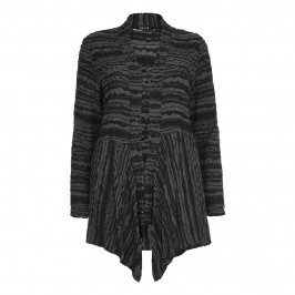Beige textured charcoal and black  stripe CARDIGAN - Plus Size Collection