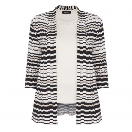 Beige Label pleated geometric print cardigan with vest - Plus Size Collection