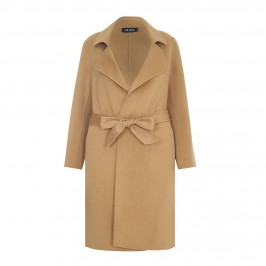BEIGE CLASSIC WOOL MIX COAT IN CAMEL - Plus Size Collection