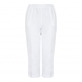 BEIGE LABEL CROPPED PULL ON TROUSER IN WHITE LINEN - Plus Size Collection