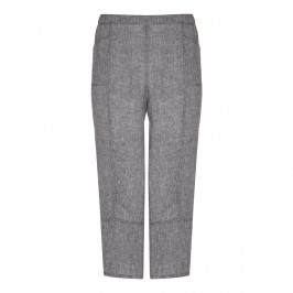 BEIGE crushed linen cropped trousers in grey - Plus Size Collection