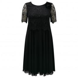 BEIGE lace bodice black DRESS - Plus Size Collection
