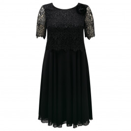 BEIGE LABEL lace bodice black DRESS - Plus Size Collection