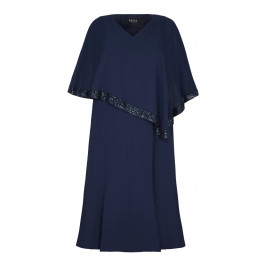 BEIGE NAVY LAYERED CHIFFON DRESS WITH PONCHO EFFECT  - Plus Size Collection