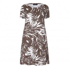 BEIGE LABEL LEAF PRINT SHORT JERSEY DRESS  - Plus Size Collection
