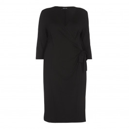 BEIGE label black fluid jersey wrap DRESS - Plus Size Collection