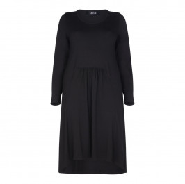 BEIGE LABEL BLACK MIDI LENGTH JERSEY DRESS WITH DIPPED HEM - Plus Size Collection