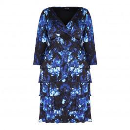BEIGE LABEL BLUE FLORAL PRINT V-NECK DRESS  - Plus Size Collection
