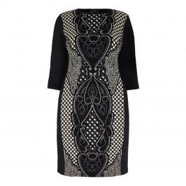 BEIGE LABEL BLACK STRETCHY JACQUARD BAROQUE DRESS  - Plus Size Collection
