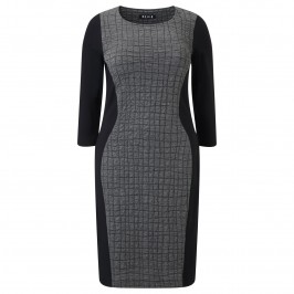 BEIGE DRESS WITH WAFFLE PANEL IN GREY AND BLACK - Plus Size Collection