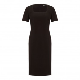 BEIGE JACQUARD BLACK TAILORED DRESS - Plus Size Collection