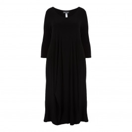 BEIGE LABEL BLACK JERSEY DRESS WITH BUBBLE HEM - Plus Size Collection
