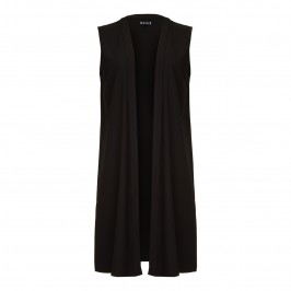 BEIGE collarless long black Gilet - Plus Size Collection