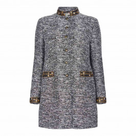 BEIGE LABEL BLACK AND WHITE TWEED JACKET WITH GOLD EMBELLISHMENT - Plus Size Collection