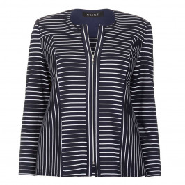 BEIGE LABEL NAVY STRIPE TEXTURED JERSEY JACKET  - Plus Size Collection