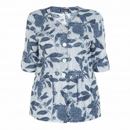 BEIGE LABEL SHORT SLEEVE, NAVY PRINT LINEN JACKET - Plus Size Collection