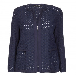 BEIGE LABEL NAVY BRODERIE ANGLAISE ZIP FRONT JACKET - Plus Size Collection