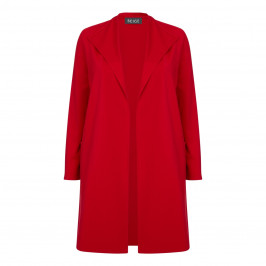 BEIGE LABEL WATERFALL FRONT LONG JACKET RED - Plus Size Collection