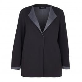 BEIGE LABEL BLACK DOUBLE JERSEY REVERE COLLAR jacket - Plus Size Collection