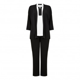 BEIGE three piece monochrome JACKET, trousers and top set - Plus Size Collection