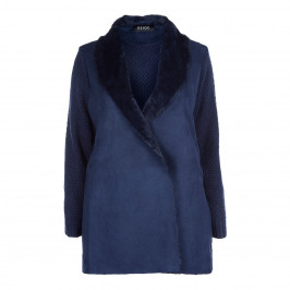 BEIGE LABEL NAVY KNITTED  JACKET - Plus Size Collection
