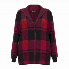 BEIGE LABEL CHECK JACKET RED - Plus Size Collection