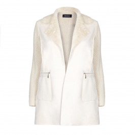 BEIGE LABEL WINTER WHITE KNITTED JACKET WITH FAUX SHEARLING - Plus Size Collection