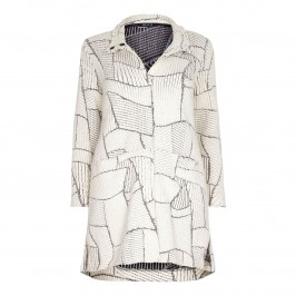 BEIGE patchwork effect  KNITTED COAT - Plus Size Collection