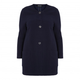 BEIGE LABEL RIBBED LONG KNITTED JACKET NAVY - Plus Size Collection