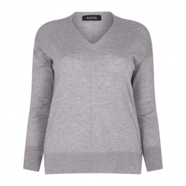 BEIGE LABEL grey melange KNITTED V-NECK SWEATER - Plus Size Collection