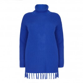 Beige knitted blue roll-neck TUNIC with fringed hem