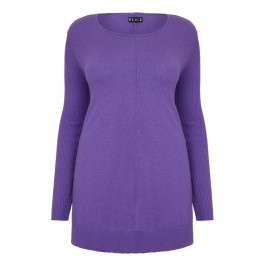 Beige violet knitted TUNIC - Plus Size Collection