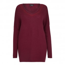 Beige knitted TUNIC in claret with embellished neck - Plus Size Collection