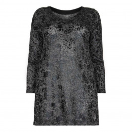 QUE black paint effect print loose-knit TUNIC - Plus Size Collection