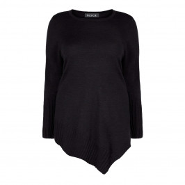 BEIGE LABEL BLACK KNITTED TUNIC WITH ASYMMETRIC HEM - Plus Size Collection
